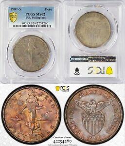 1907-S US/Philippines Peso ~ PCGS MS62 Toned ~ 80% Silver ~ Allen#17.01 ~ 4260
