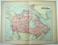 Original 1895 Map of British North America by  W & A.K. Johnston. Antique