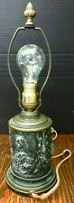 Vintage Bronze Electric Cylinder Lamp Man & Dogs Fighting A Boar Good-Very Good
