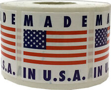 Made in the USA Square Stickers, 1.5 Inches Square, 500 Labels on a Roll