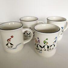 Pfaltzgraff PENGUIN SKATE Full Mugs Set of 4 Original Box Discontinued 2007
