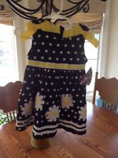Nwt Girls Blueberi Boulevard Size 18Mos Navy Polka Dots W/Flower Appliques