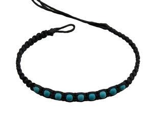 Bracelet Surfer Friendship Black Beads Turquoise -20837-FS8A