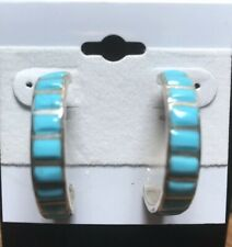 Chaco Canyon Southwest Zuni Sleeping Beauty Turquoise Inlay Hoop Earrings NWT