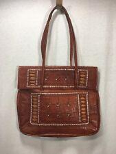 Leather Handbag Detailed Handmade Rustic Fold Over Closure Purse Bag Tote