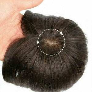 100% Human Hair Topper Toupee Short Hairpiece Mono Lace Daily Wig For Women Men