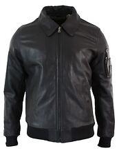 Mens Genuine Real Leather Harrington Bomber MA1 Classic Pilot MOD Jacket XS-5XL