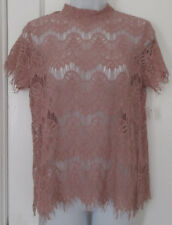 New NWT INNY Women's Ladies Mauve Lace Open Split Back BOHO Sheer Chic Top Sz M