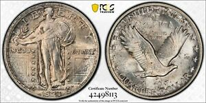 1921 Standing Liberty Quarter. PCGS Uncirculated. Gem BU. Obverse Cleaned