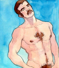 ORIGINAL MALE NUDE Watercolor - OSCAR - by GERMANIA