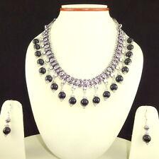 Necklace Earrings Natural Onyx Gemstone Round Beaded Handmade Jewelry