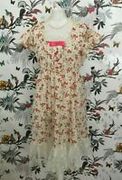 *BNWOT* Handmade Cream Pink Floral Midi Tea Dress Size 16 18 Lolita