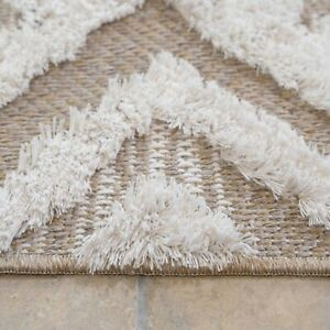 Beige Geometric Cream Rugs Recycled Cotton Sustainable Fringed Flatweave Carpet