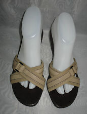 WOMENS AEROSOLES Beige/Brown Leather/Textile Mules Sandals Size:5/38(WHS110)