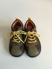 Ecco Sz 20 4.5 5 Brown Green Boots Walking Shoes Toddler Boy Leather Laces