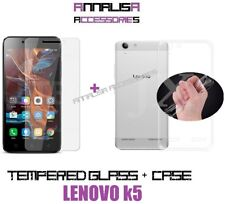 KIT COVER + PELLICOLA VETRO TEMPERATO LENOVO K5 CASE TRANSPARENT TEMPERED GLASS