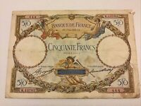 France Banknote. 50 Francs. Dated 1933. French Vintage Note.