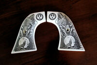Ivory Ruger Super Blackhawk custom engraved Grips Howling Wolf Moon