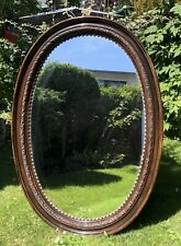 Oval Art Nouveau Wall Mirror Carved Wood Frame Blumenmuster Antique Um 1920