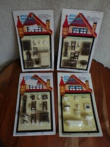 4 MINI DOLLHOUSE FURNITURE Room Packages Clean