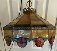 """Vintage Stained Glass Tiffany Hanging Lamp Beige Brown Red Green 15"""""""