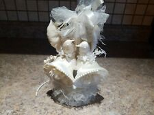 Vintage Wedding Cake Topper Bird Dove White Bells Lace 1959 Antique Anniversary