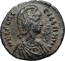 Aelia flacilla esposa de Teodosio I 383AD auténticos Antigua Moneda Romana i67009
