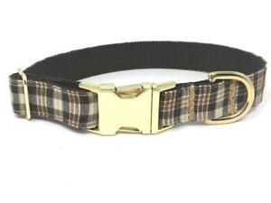 Plaid Dog Collar, For Boys, Male, Brown, Tan, Khaki, Personalized, Engraved, Sma