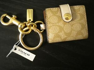 Authentic COACH Signature Picture Frame Charm Keychain Khaki Canvas NEW was $68