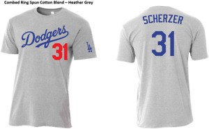 #31 Max Scherzer Los Angeles Dodgers Slim Fit Shirt Adult and Youth Sizes