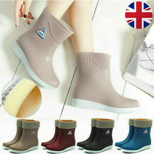 Ladies Rain Boots Short Leg Wellies Non-Slip Gumboots Waterproof Flat Ourdoor