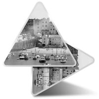 2 x Triangle Stickers  10cm - BW - Tenby Harbour Wales UK Travel Boats  #43628