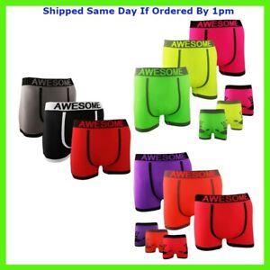 3 Pairs Mens Seamless Neon Boxer Shorts Trunks Hand Print Designer Underwear