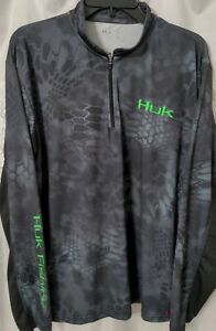 HUK Performance Fishing Long Sleeve 1/4 Zip Shirt Kryptek  Size Medium