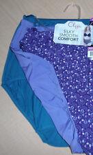 3 Olga Nylon Brief Panty Set Without A Stitch Purple Blue Flower NWT 6 Medium M