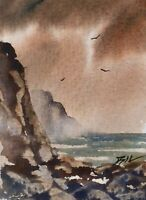 Original Miniature Painting ' Large Rocks ' by Bill Lupton ACEO