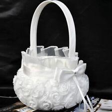 Romantic Bowknot Satin Rose Flower Girl Petals Basket Wedding Party Decoration