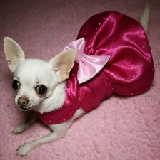 Handmade Dog Dress For Small Dogs - Pink Sparkly Clothing - Chihuahua Puppy
