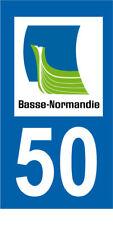 Département 50 MOTO 1 autocollant style plaque moto 3 x 6 cm