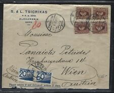 AUSTRIA  (P1202B) 1935   POSTAGE DUE  320G+60G    ON INCOMING COVER  FROM EGYPT