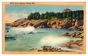 Mid-1900s Kid's Cave, Squirrel Island, Maine Postcard