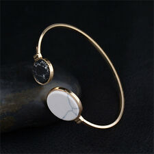 Women Chakra Gemstone Beads Gold Plated Adjustable Cuff Bracelet Bangle Jewelry