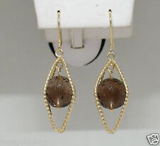 """2"""" Caged Smoky Topaz Textured Dangle Drop Earrings Real 14K Yellow Gold 6.60gr"""