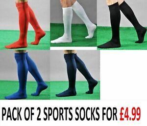 2 PAIRS Mens Ladies Football Socks Soccer Hockey Rugby Sports Plain Long Socks