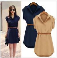 Summer Womens Shirt Dress Chiffon Ladies T Shirt Casual Loose Short Dresses Tops