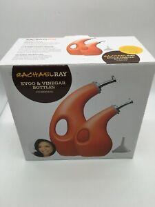 Rachael Ray EVOO Oil and Vinegar Orange Stoneware Dispenser Bottles set - NIB