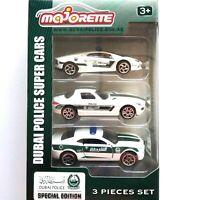 3Pcs Set Majorette Dubai Police Super Car Special Edt Lamborghini Benz Chevrolet