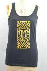 Biba Black Vest Top Tank Retro Vintage Bohemian M UK 12 New