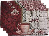 """Set of 4, Printed CAFE Design Tapestry Placemats Size : 13"""" x 19"""" # 148P"""