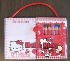 Sanrio Hello Kitty mini memo coloring paper stickers crayons PVC case set 2000